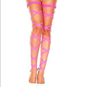 Neon pink racer leg wraps